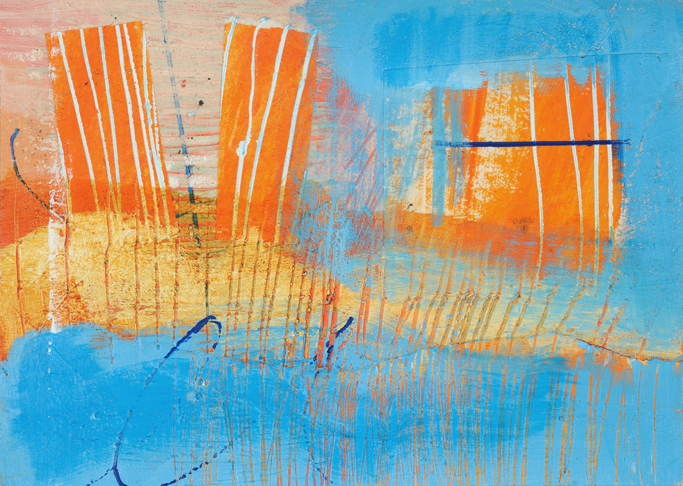 Abstraction #1519, Collage, Acrylic on Watercolor Paper, 5 1/2 x 7 1/2