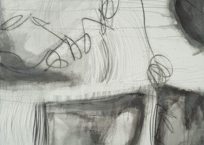 #8020 Black, White, Gray Series 2 Mixed Media Acrylic, Graphite, Watercolor crayon, Watercolor on paper